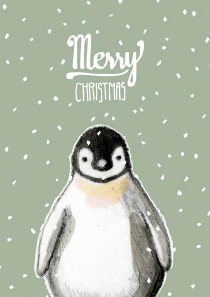 IL0132 Leolino Pinguin Weihnachten Happy Christmas illi Postkarte