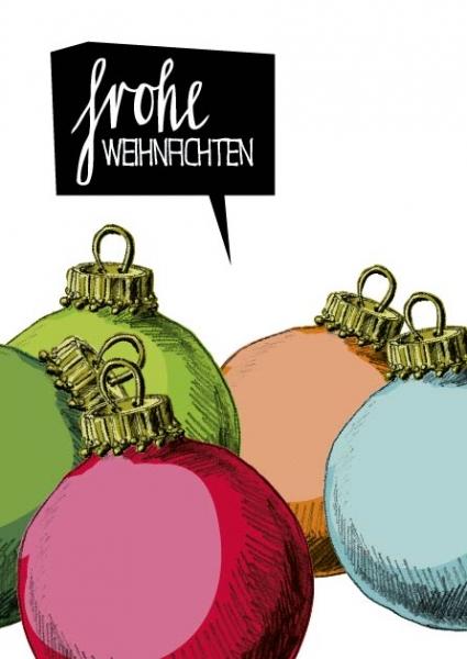 IL0152 Weihnachtskugeln bunt frohe Weihnachten illi Postkarte
