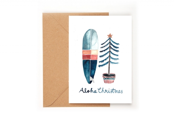 Gretas Schwester Klappkarte Aloha Christmas Weihnachten Surfbrett