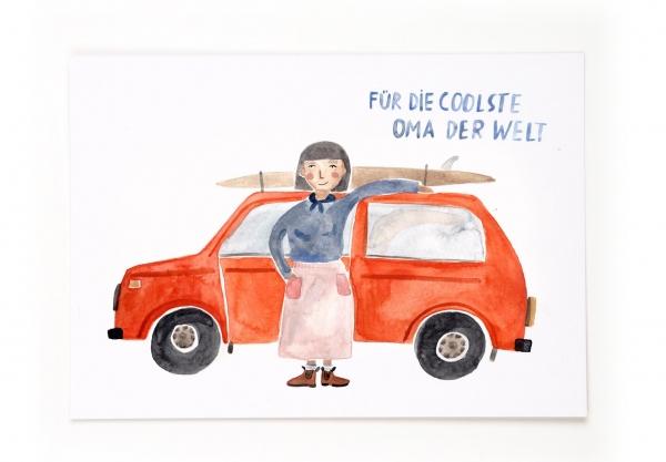 Gretas Schwester Postkarte Für die coolste Oma der Welt Auto