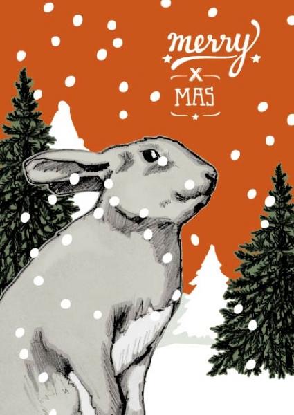 IL0153 Hase Johann Merry x mas Weihnachten illi Postkarte