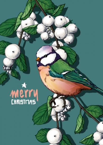 ILX0001 Vogel Pilli merry Christmas Weihnachten illi Postkarte